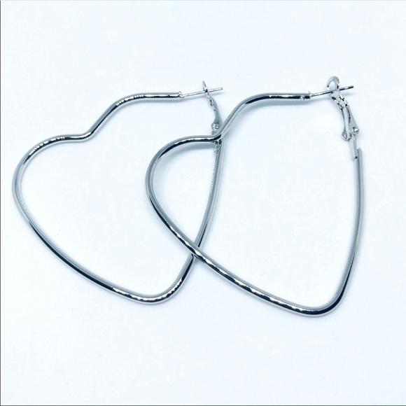 Heart Hoop statement style street wear earrings
